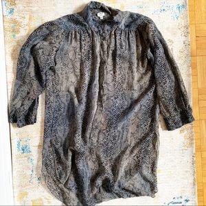 Aritzia Wilfred Silk Sheer Animal Blouse Tunic XS